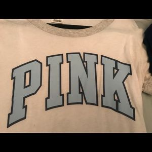 Light blue and white PINK t shirt